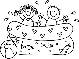 summer kids boy playing pool coloring page wecoloringpage