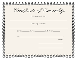 Certificate Of Ownership Template lovely certificate of ownership template contemporary entry level