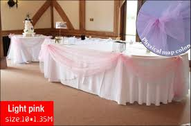 Light Pink Table Cloth 2015 New Fad Light Pink 10m 1 35m Top Table Swags Organza Fabric