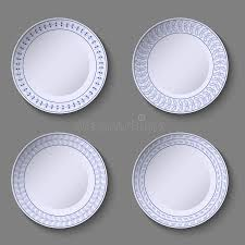 set of ornamental plates with a blue floral decor in manual style