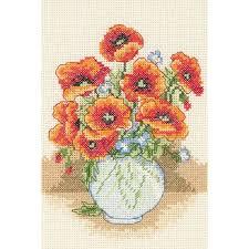 anchor kits cross stitch poppy vase hobbycraft