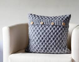 gray knit pillow for home decor honeycomb pattern pillows