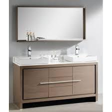 60 In Bathroom Vanity by Allier 60in Gray Oak Modern Double Sink Bathroom Vanity W Mirror