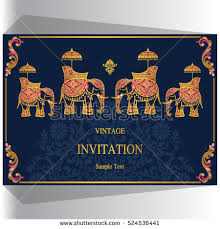 indian wedding invitations nyc indian wedding invitation elephant patterned gold stock vector