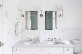 Bathroom Sconces Polished Nickel White Beadboard Backsplash In Cottage Bathroom Cottage Bathroom