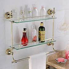 Bathroom Glass Shelves With Towel Bar Leyden Wall Mount Bathroom Ti Pvd Gold Finish Brass Material