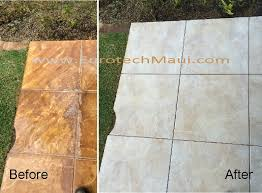 red dirt and hard water stains tile grout cleaning