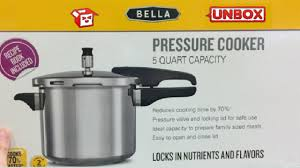 unboxing irl video bella pressure cooker 5 quart capacity