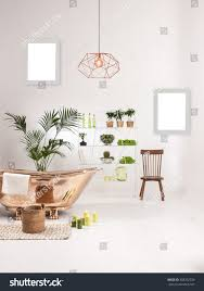 natural wood furniture white wall decor stock photo 558332329