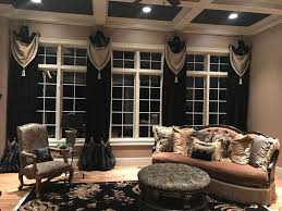 luxury black velvet drapery panels and soft valances window
