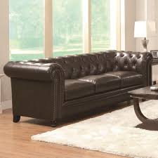 coaster roy traditional button tufted sofa with rolled back and