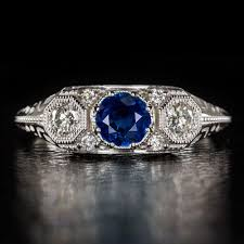 white stone rings images Antique vintage art deco 3 stone royal blue sapphire diamond ring jpg