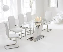 White Glass Extending Dining Table Extendable Dining Table Glass White Glass Dining Table And 6