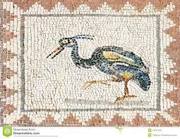 ancient roman mosaic representing a heron sevilla stock photo
