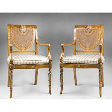 pr of sheraton neo classical style painted satinwood armchairs