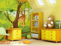 Retro Kids Room Cartoon Jungle Wallpaper Ideas For Wall With Chic - Kid room wallpaper
