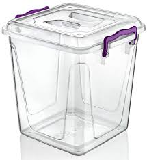 large 20 litre clear transparent plastic box ideal for kitchen