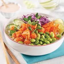recettes cuisine poke bowl au saumon et sauce au gingembre mariné recettes