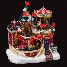 idee village de noel carrousel et décoration animée de noël