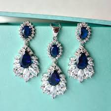 sapphire necklace set images Marquise sapphire blue wedding jewelry set cubic zirconia blue jpg
