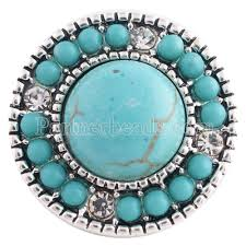 turquoise stone 20mm round snap silver plated with turquoise stone and rhinestone