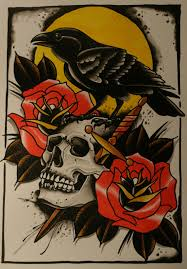traditional colorful with skull and roses on yellow sun