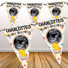 Charlotte Flag Personalised Unisex Yellow Duck Baby Shower Flag Photo Bunting