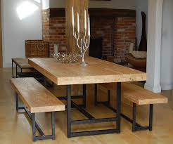 dining room table set with bench