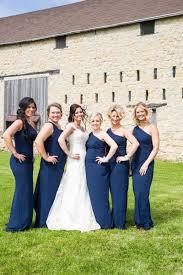brides u0026 bridesmaids photos one shoulder navy bridesmaid dresses