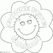 Coloriage de bonne fête maman écrit dans une fleur  Coloriages