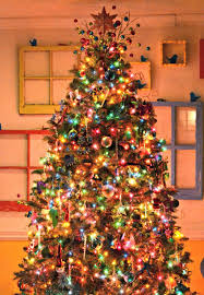 shiny tree decorations with gold