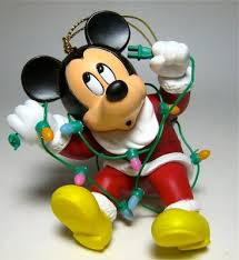 santa mickey mouse tangled in lights ornament grolier