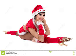 christmas fitness woman doing the splits wearing santa isolated