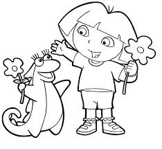 dora and friends picking flowers coloring pages 5437