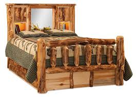 Bookcase Bed Frame Rustic Aspen Log Bed With Bookcase Headboard From Dutchcrafters Amish