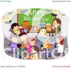 halloween party clipart cartoon of a female teacher and happy diverse children