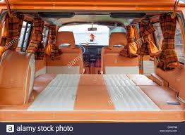 volkswagen minibus interior restored interior of a volkswagen camper van stock photo royalty