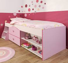 Single Wood Bed Frame High Pink Wooden Bed Frame With Drawers And Shelves On Brown
