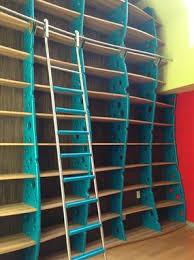 Inbuilt Bookshelf Custom Made Bookcase Wall Library With Ladder Modern Funky