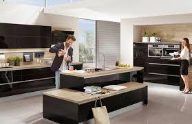 cuisine noir et cuisine et bois moderne et élégante cuisine noir style