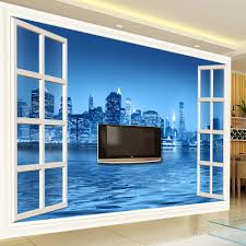 popular city wall murals wallpaper buy cheap city wall murals custom 3d photo wall paper window city night 3d stereoscopic space tv backdrop decorative pictures modern
