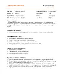 resume exles special education aide duties resume exle for substitute teacher job description template
