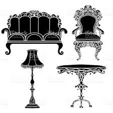 Table And Floor Lamp Set Vintage Furniture Set Armchair Sofa Table Floor Lamp Stock Vector