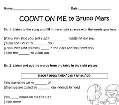 Bruno Mars Count On Me With Lyrics Worksheet Count On Me By Bruno Mars