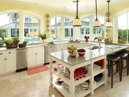 Light Yellow Kitchen Cabinets Yellow Cabinets And Drawers Chairs Wooden Countertop Black