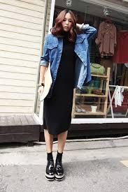 denim jacket with black long dress korean trend and fashion