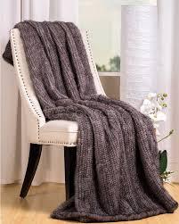 grey knit mink fur throw blanket fursource