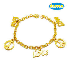 gold chain bracelet with charm images Olivia women saudi gold jewelry love and peace charm gold chain jpg