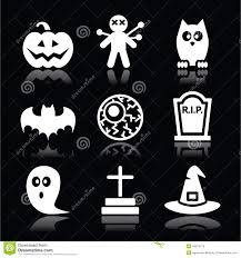 free halloween icon halloween black icons set pumpkin witch ghost on black stock