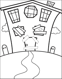 free printable halloween haunted house coloring page for kids 4
